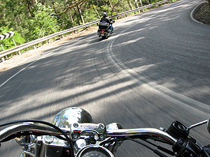 Harley motorbikes on road