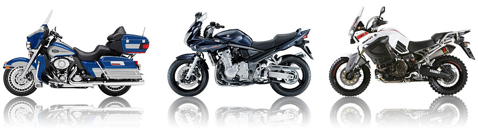 Many different makes of motorbike available to take on tour