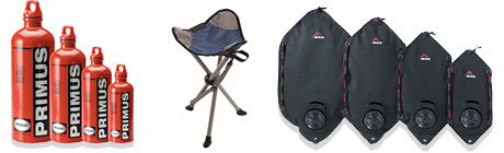 Camp chair, fuel bottles, water carriers